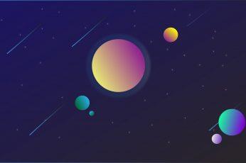 Planet wallpaper, space, space art, minimalism, gradient, digital art