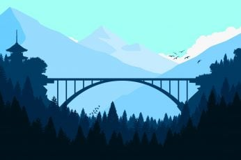 Bridge wallpaper, forest, minimalism, minimalist, hd, 4k, artist, artwork
