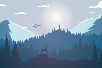 Deer on mountain wallpaper, silhouette of trees under white sky illustration