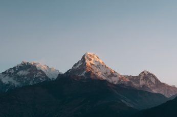 Sunrise wallpaper, Annapurna Massif, Himalayas, Minimal, Mountains, 4K