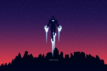 Iron Man digital wallpaper, hero, superhero, minimalism, artwork