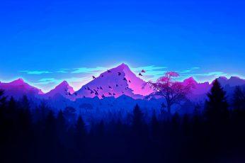 Artwork wallpaper, landscape, mountains, forest, men, minimalism, vaporwave