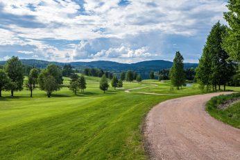 Norway summer landscape wallpaper, grass, trees, road, hills, green