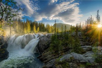 Waterfall near trees at daytime wallpaper, sunset, river, forest, sky, nature