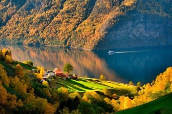 White and blue boat wallpaper, body of water and green trees, nature, landscape