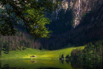 Green grass field wallpaper, nature, landscape, house, mountains, water