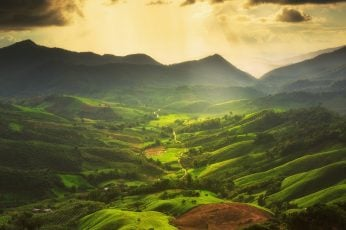 Green hills and mountains wallpaper, nature, landscape, mist, valley, clouds