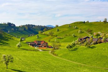 Green grass field wallpaper, nature, landscape, hills, trees, house, clouds