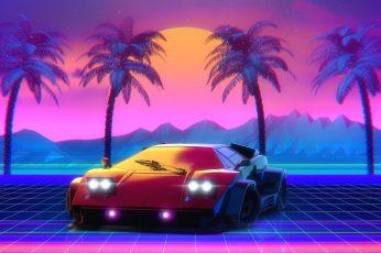Lamborghini 80s wallpaper, Neon, Countach, Lamborghini Countach, 80's
