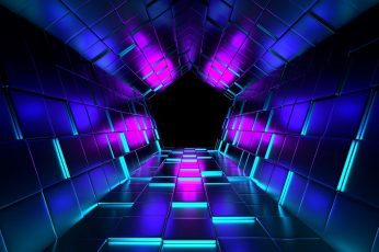 Technology wallpaper, shine, glow, abstract art, tunnel, pentagon, energy