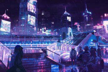 LED lights wallpaper, cyberpunk, neon, rain, OutRun, architecture, city