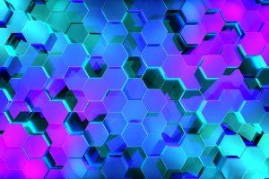 Abstract wallpaper, 3D, hexagon, digital art, geometry, neon