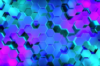 Abstract wallpaper, 3D, hexagon, digital art, geometry, neon