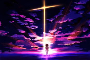 Neon Genesis Evangelion wallpaper, EVA Unit 01, anime, cross