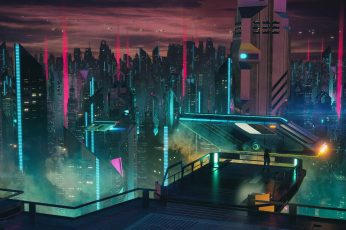 Futuristic city illustration wallpaper, aniamted city skyline, science fiction