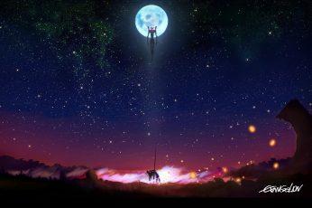 Anime wallpaper Neon Genesis Evangelion, night, astronomy, star – space
