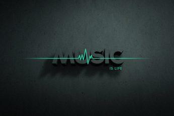 Music is life wallpaper text illustration, typography, minimalism, digital art