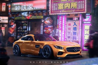 Yellow Mercedes-Benz coupe wallpaper, Khyzyl Saleem, car, Mercedes Benz AMG GT