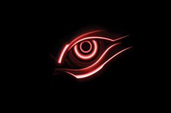Red halo headlight wallpaper, eye illustration, eyes, black background