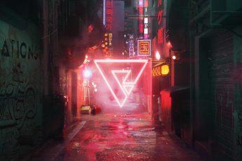 Neon lights wallpaper, digital, digital art, artwork, urban, lights, neon