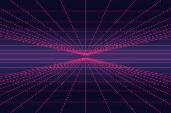 Retrowave wallpaper, neon, artwork, minimalism, digital art