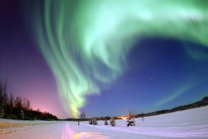 Snow covered road under aurora borealis wallpaper, alaska, colored