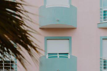Pastel pink & light blue building wallpaper, Lagos, Portugal, minimal