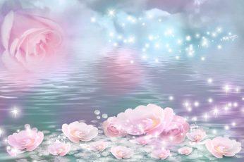 Roses Float wallpaper, stars, lake, sparkle, water, mirage, fantasy, shine