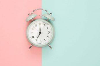Clock wallpaper pastel background, blue, pink, time, alarm, colorful