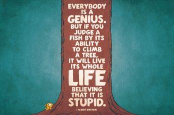 Albert Einstein quote wallpaper, everybody is a genius text, typography