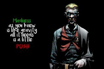 The Joker illustration wallpaper, quote, comics, black background