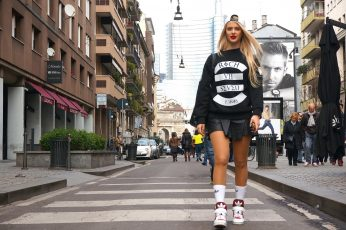 Women's black and white sweatshirt wallpaper, blonde, street, Adidas, architecture