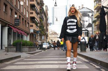 Women's black and white sweatshirt wallpaper, blonde, street, Adidas, architecture