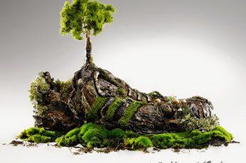 Green tree figurine wallpaper, digital art, Adidas, sneakers, nature, abstract