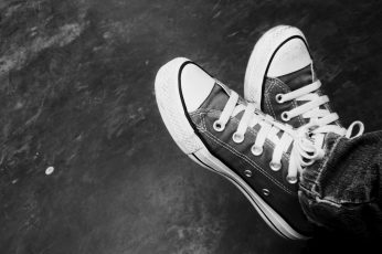 Converse HD Wallpaper, pair of black Converse All-Star low-top sneakers