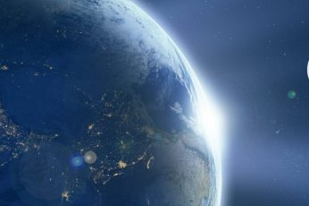 Planet earth illustration wallpaper, space, Moon, stars, sky, night, astronomy