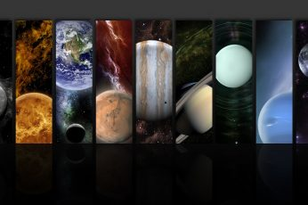 Assorted planets painting wallpaper, space, stars, Sun, Earth, Mercury