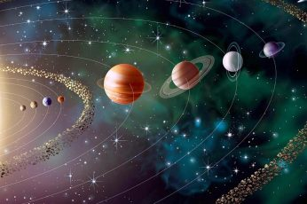 Solar system digital wallpaper, space, earth, sun, planets, universe