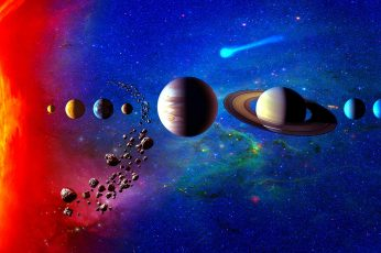 Solar system wallpaper, planetary system, space art, planets, universe