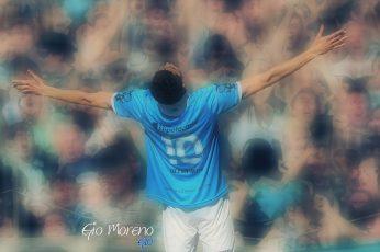 Racing Club wallpaper, human arm, real people, men's blue jersey shirt