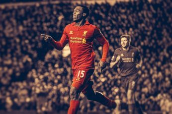 Soccer wallpaper, HDR, Daniel Sturridge, men's red long-sleeved jersey
