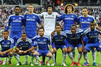 Chelsea FC wallpaper, Champions League Final, men's blue Samsung jersey