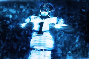 Cam Newton wallpaper, NFL, Carolina Panthers, men's white football jersey