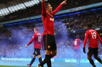 Manchester United wallpaper, Robin van Persie, men's red soccer jersey
