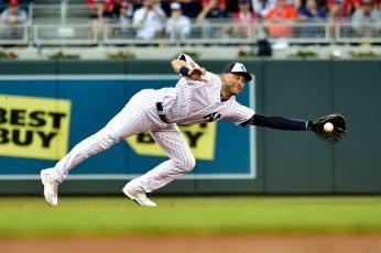 Derek Jeter wallpaper, MLB, New York Yankees, sport, white baseball jersey