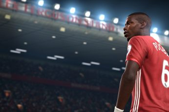 Video games wallpaper, FIFA, soccer, Paul Pogba, men's red and white jersey shirt