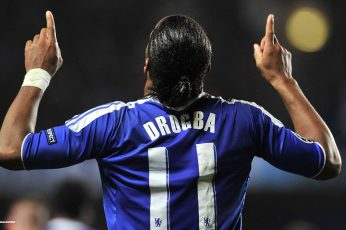 Didier Drogba wallpaper, men's blue and white Drogba jersey shirt, Chelsea FC
