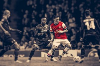 Soccer wallpaper, HDR, Arsenal Fc, Mesut Ozil, men's red and white jersey shirt