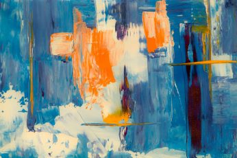 Wallpaper: Blue, White, and Orange Abstract Painting, abstract expressionism
