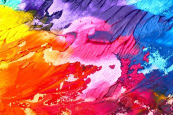 Yellow wallpaper, pink and blue abstract painting, art, background, texture